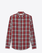 SAINT LAURENT CAMICIA Classic WESTERN U Western-style shirt in cotton with red and white checks f
