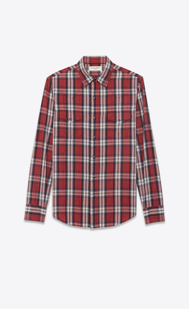 SAINT LAURENT Western Shirts Man Western-style shirt in cotton with red and white checks a_V4