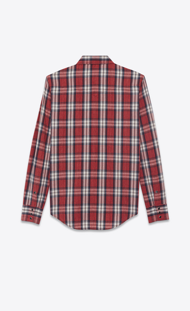 SAINT LAURENT Western Shirts Man Western-style shirt in cotton with red and white checks b_V4