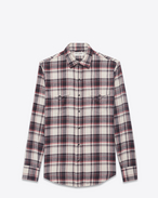 SAINT LAURENT CAMICIA Classic WESTERN U Western-style shirt in cotton with beige, black and pink checks f