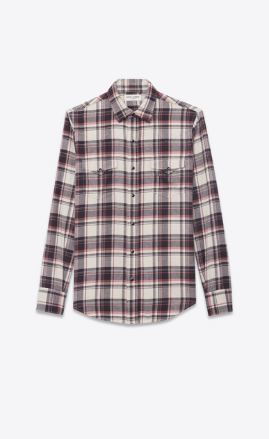SAINT LAURENT Western Shirts Man Western-style shirt in cotton with beige, black and pink checks a_V4