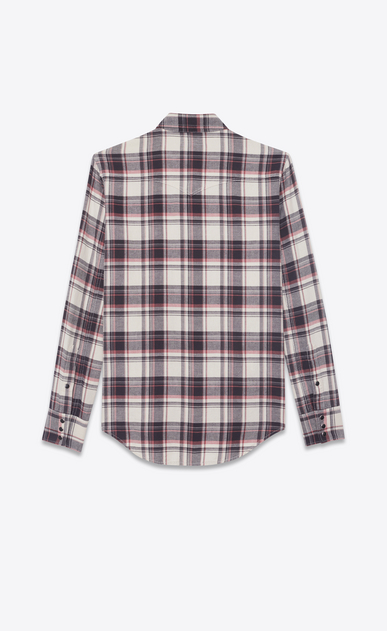 SAINT LAURENT Western Shirts Man Western-style shirt in cotton with beige, black and pink checks b_V4