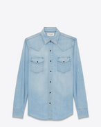 SAINT LAURENT Western Shirts U Western-style shirt in faded sky blue denim f
