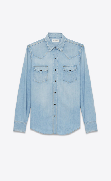SAINT LAURENT Western Shirts U Western-style shirt in faded sky blue denim a_V4