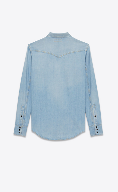 SAINT LAURENT Western Shirts U Western-style shirt in faded sky blue denim b_V4