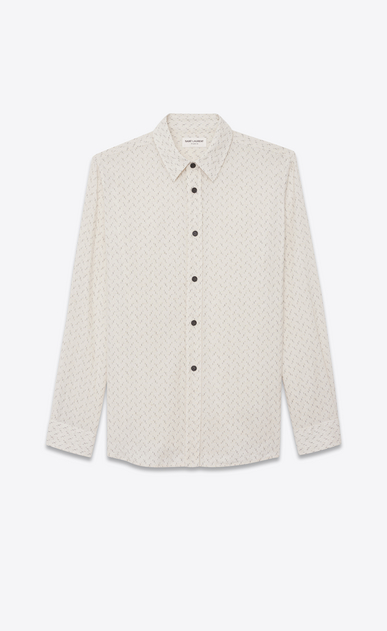 SAINT LAURENT Casual Shirts Man Oversized shirt in off-white ethnic jacquard a_V4