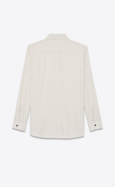 SAINT LAURENT Casual Shirts Man Oversized shirt in off-white ethnic jacquard b_V4