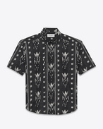 SAINT LAURENT Camicie Casual U Yves-neck shirt in IKAT-printed black cotton voile f