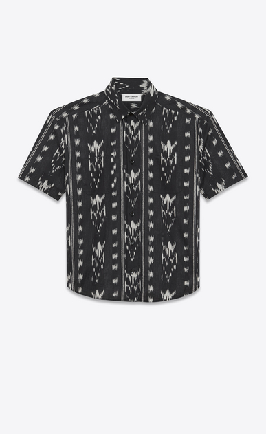 SAINT LAURENT Casual Shirts Man Yves-neck shirt in IKAT-printed black cotton voile a_V4