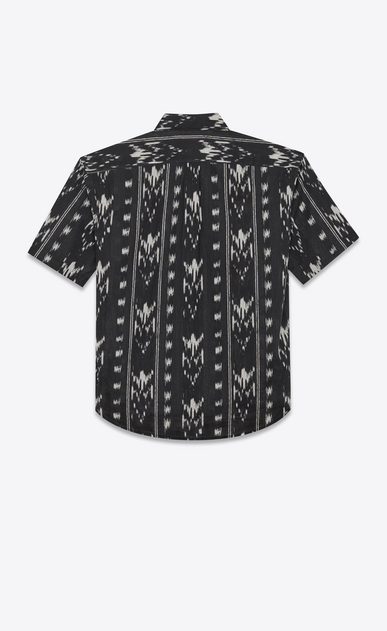 SAINT LAURENT Casual Shirts Man Yves-neck shirt in IKAT-printed black cotton voile b_V4