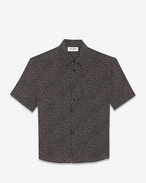 SAINT LAURENT Camicie Casual U Yves-neck shirt in snowflake-printed black crepe de chine f