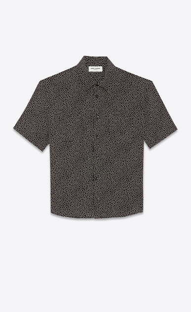 SAINT LAURENT Casual Shirts Man Yves-neck shirt in snowflake-printed black crepe de chine a_V4