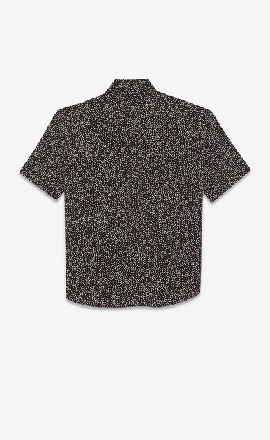 SAINT LAURENT Casual Shirts Man Yves-neck shirt in snowflake-printed black crepe de chine b_V4