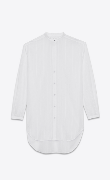 SAINT LAURENT Casual Shirts U Striped tunic shirt in off-white cotton a_V4