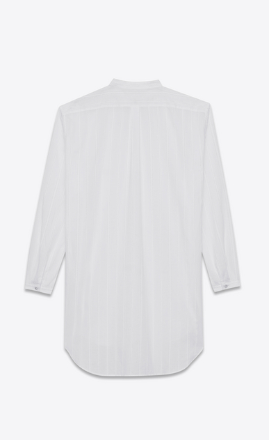 SAINT LAURENT Casual Shirts U Striped tunic shirt in off-white cotton b_V4