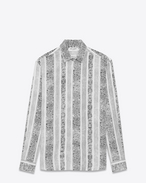 SAINT LAURENT Camicie Casual U Yves-neck shirt in bandana-printed white viscose f
