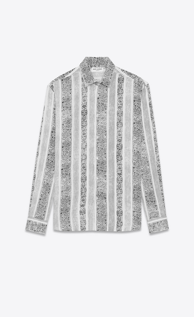 SAINT LAURENT Casual Shirts U Yves-neck shirt in bandana-printed white viscose a_V4