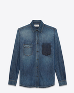 SAINT LAURENT Denim shirts U PROPERTY OF SAINT LAURENT oversized shirt in faded blue denim f
