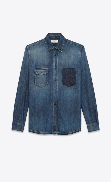 SAINT LAURENT Denim shirts Man PROPERTY OF SAINT LAURENT oversized shirt in faded blue denim a_V4