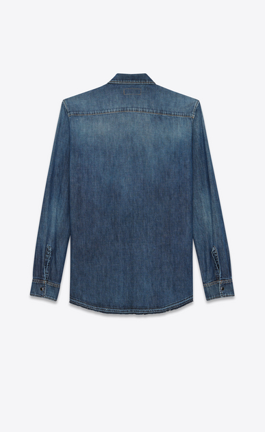 SAINT LAURENT Denim shirts Man PROPERTY OF SAINT LAURENT oversized shirt in faded blue denim b_V4