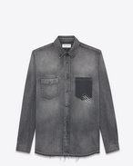 SAINT LAURENT Denim shirts U PROPERTY OF SAINT LAURENT oversized shirt with a shadowed pocket in faded blue denim f