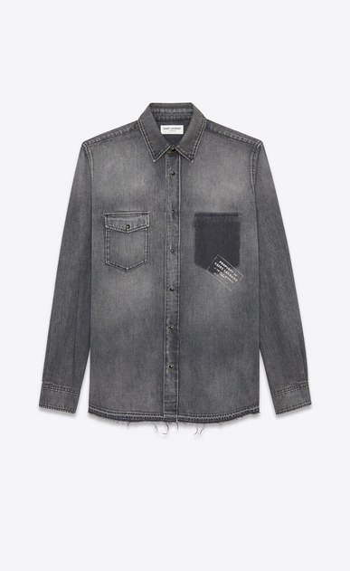 SAINT LAURENT Denim shirts U PROPERTY OF SAINT LAURENT oversized shirt with a shadowed pocket in faded blue denim a_V4
