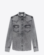SAINT LAURENT CAMICIA Classic WESTERN U Western-style shirt in faded gray denim f