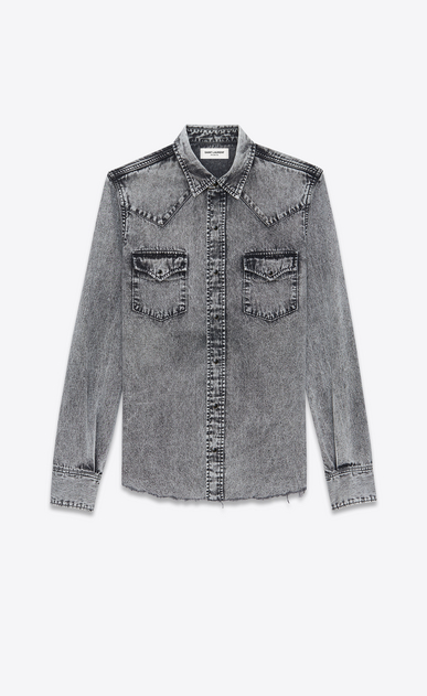 SAINT LAURENT Western Shirts U Western-style shirt in faded gray denim a_V4