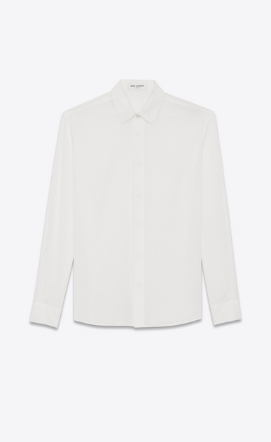 SAINT LAURENT Classic Shirts U Yves-neck shirt in off-white cotton voile a_V4