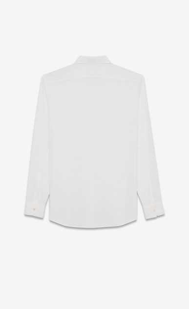 SAINT LAURENT Classic Shirts U Yves-neck shirt in off-white cotton voile b_V4