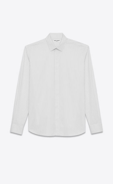 SAINT LAURENT Classic Shirts U Yves-neck shirt in black and white striped satin a_V4