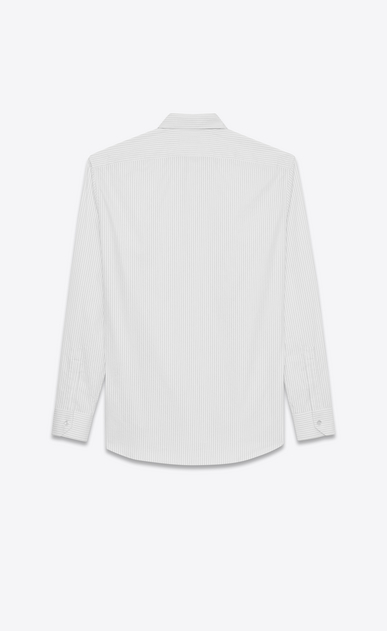 SAINT LAURENT Classic Shirts U Yves-neck shirt in black and white striped satin b_V4