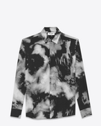 SAINT LAURENT Camicie Casual U Yves-neck shirt in black tie-dye crepe de chine f