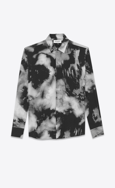 SAINT LAURENT Casual Shirts Man Yves-neck shirt in black tie-dye crepe de chine a_V4