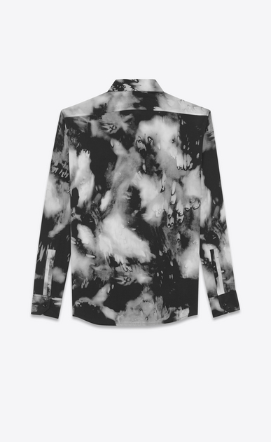 SAINT LAURENT Casual Shirts Man Yves-neck shirt in black tie-dye crepe de chine b_V4