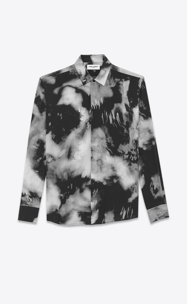Saint Laurent Yves Neck Shirt In Black Tie Dye Crepe De Chine