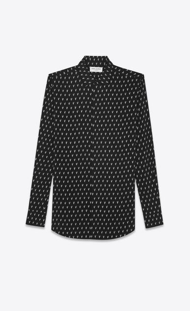 SAINT LAURENT Casual Shirts U Yves-neck shirt in IKAT-printed black canvas a_V4