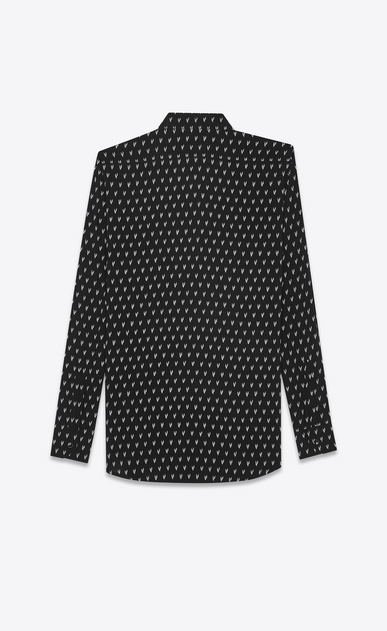 SAINT LAURENT Casual Shirts U Yves-neck shirt in IKAT-printed black canvas b_V4