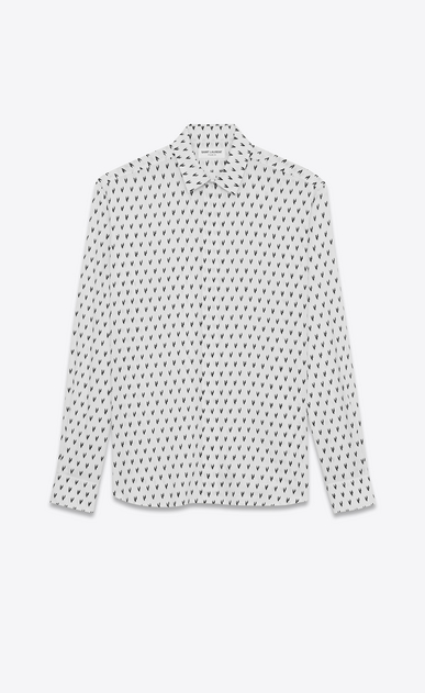 SAINT LAURENT Classic Shirts U Yves-neck shirt in IKAT-printed white canvas a_V4