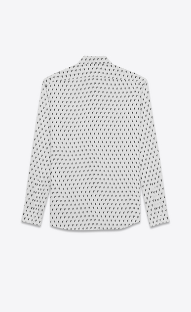 SAINT LAURENT Classic Shirts U Yves-neck shirt in IKAT-printed white canvas b_V4