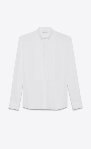 SAINT LAURENT Tuxedo Shirts U Shirt with ribbed plastron in off-white cotton voile a_V4
