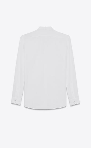 SAINT LAURENT Tuxedo Shirts U Shirt with ribbed plastron in off-white cotton voile b_V4