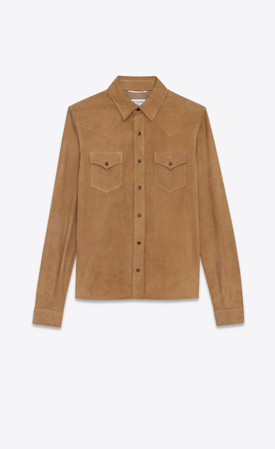 SAINT LAURENT Western Shirts U Western-style shirt in tobacco suede a_V4