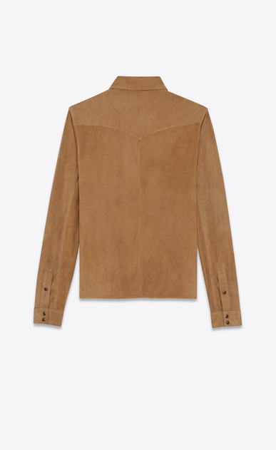 SAINT LAURENT Western Shirts U Western-style shirt in tobacco suede b_V4