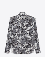 SAINT LAURENT Camicie Casual U Yves-neck shirt in black and white silk printed with a Greek fresco f