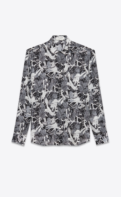 SAINT LAURENT Casual Shirts Man Yves-neck shirt in black and white silk printed with a Greek fresco a_V4