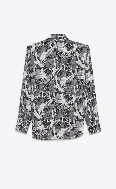 SAINT LAURENT Casual Shirts Man Yves-neck shirt in black and white silk printed with a Greek fresco b_V4