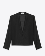 SAINT LAURENT Camicie Casual U Tunic with ethnic-embroidered neck in black wool voile f