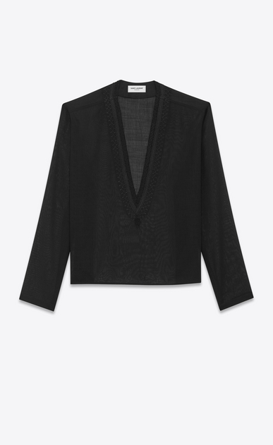 SAINT LAURENT Casual Shirts Man Tunic with ethnic-embroidered neck in black wool voile a_V4