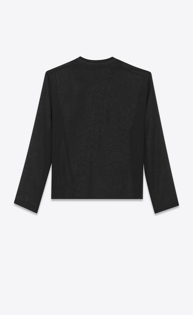SAINT LAURENT Casual Shirts Man Tunic with ethnic-embroidered neck in black wool voile b_V4